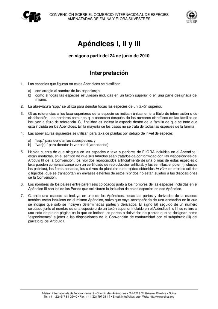 CONVENCIÓN SOBRE EL COMERCIO INTERNACIONAL DE ESPECIES                          AMENAZADAS DE FAUNA Y FLORA SILVESTRES    ...