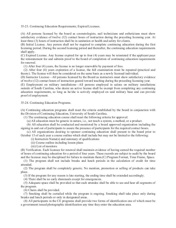 S C Code Of Regulations Chapter 35 Board Of Cosmetology