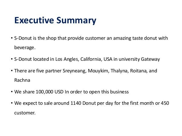 donut shop business plan examples