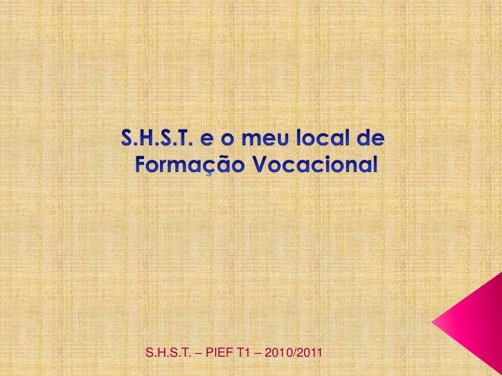 S.H.S.T. e o meu local de<br /> Formação Vocacional<br />S.H.S.T. – PIEF T1 – 2010/2011<br />