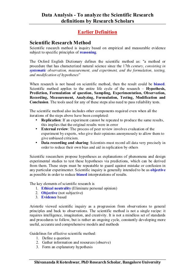 Data Analysis - Scientific Research Definitions