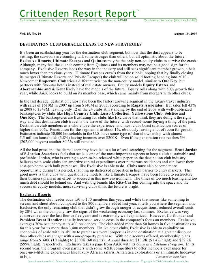Crittenden Resort Report                                                                                                  ...