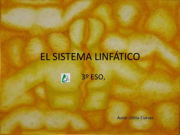 EL SISTEMA LINFÁTICO        3º ESO,                  Autor: Otilia Cuevas