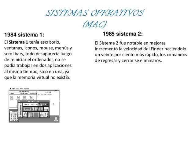 SISTEMAS OPERATIVOS(MAC)1984 sistema 1:El Sistema 1 tenía escritorio,ventanas, iconos, mouse, menús yscrollbars, todo desa...