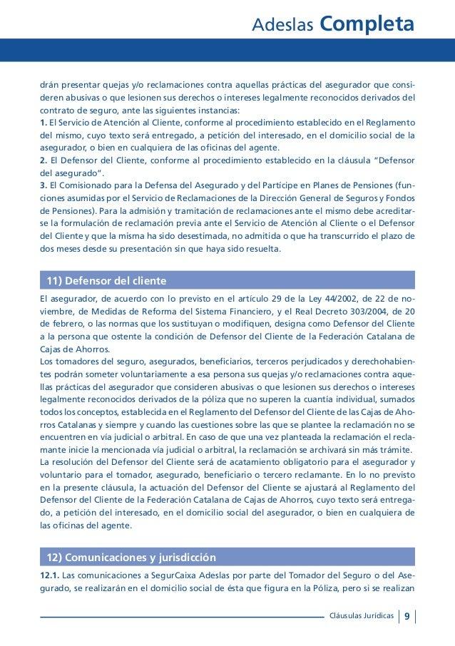 Condiciones generales adeslas completa for Oficinas de adeslas en barcelona