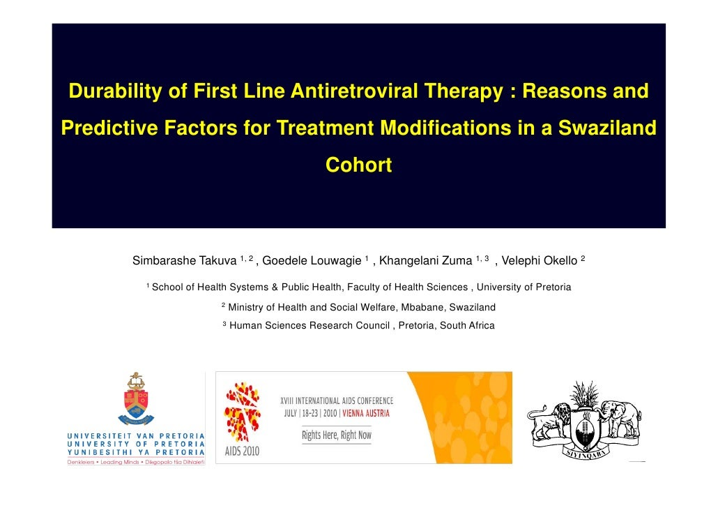 Simbarashe Takuva, AIDS 2010. Durability of first line antiretroviral therapy in Swaziland