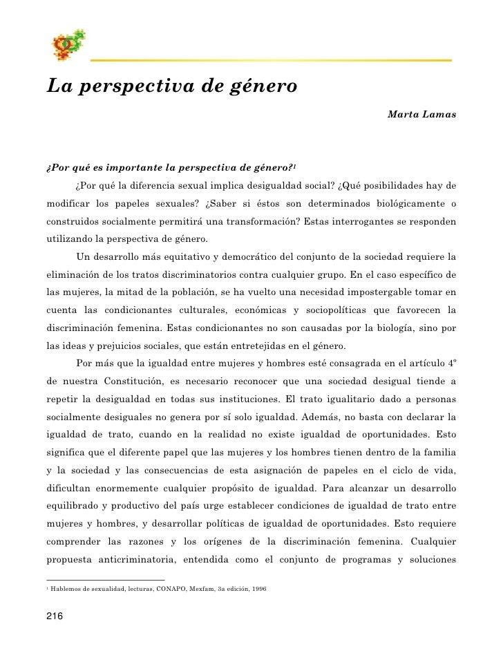 La perspectiva de género                                                                                Marta Lamas     ¿P...