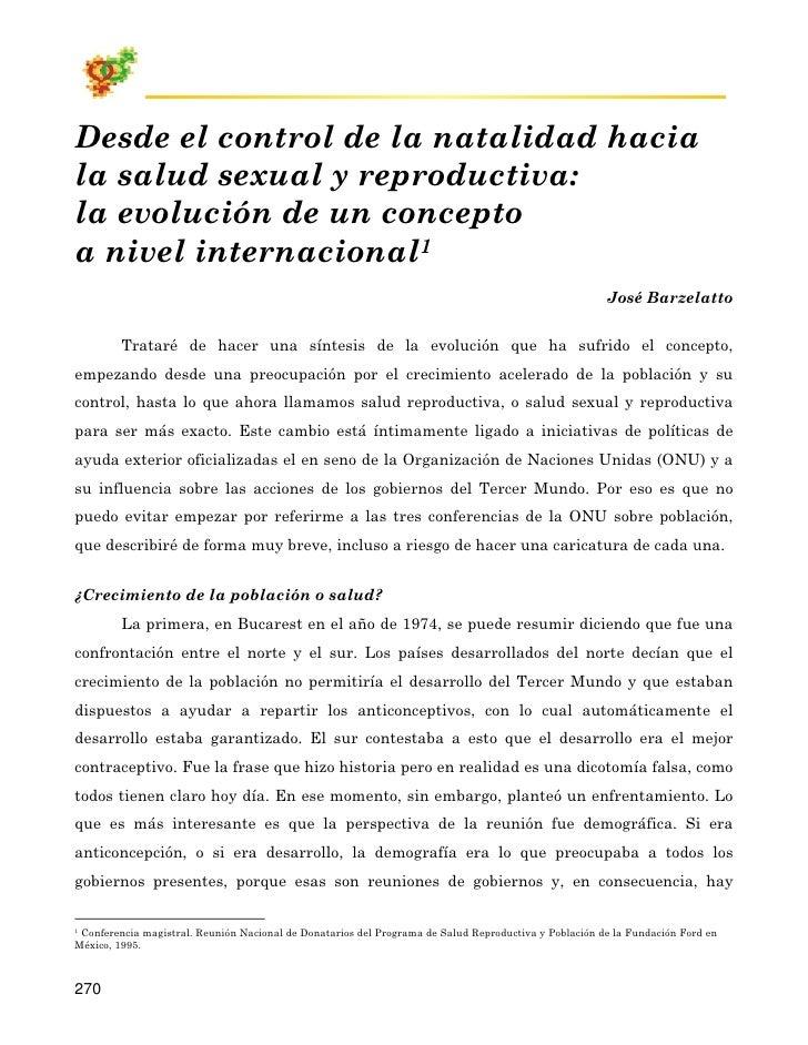 Desde el control de la natalidad hacia la salud sexual y reproductiva: la evolución de un concepto a nivel internacional1 ...