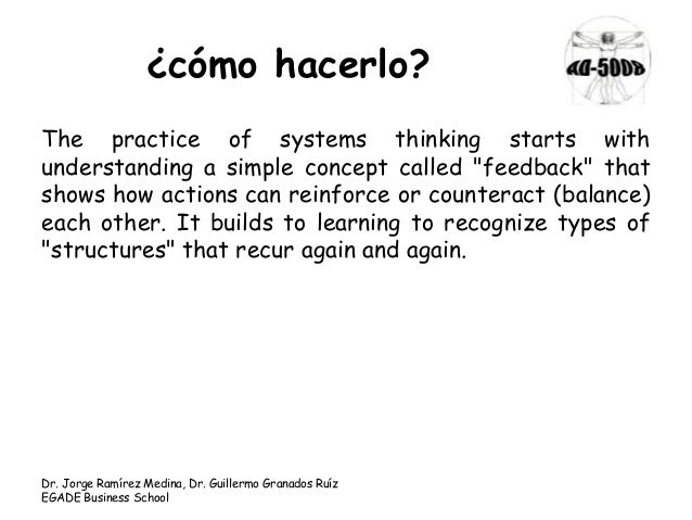 "¿cómo hacerlo? The practice of systems thinking starts with understanding a simple concept called ""feedback"" that shows ho..."