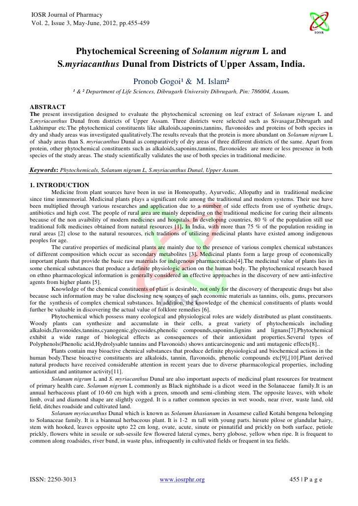 IOSR Journal of PharmacyVol. 2, Issue 3, May-June, 2012, pp.455-459               Phytochemical Screening of Solanum nigru...