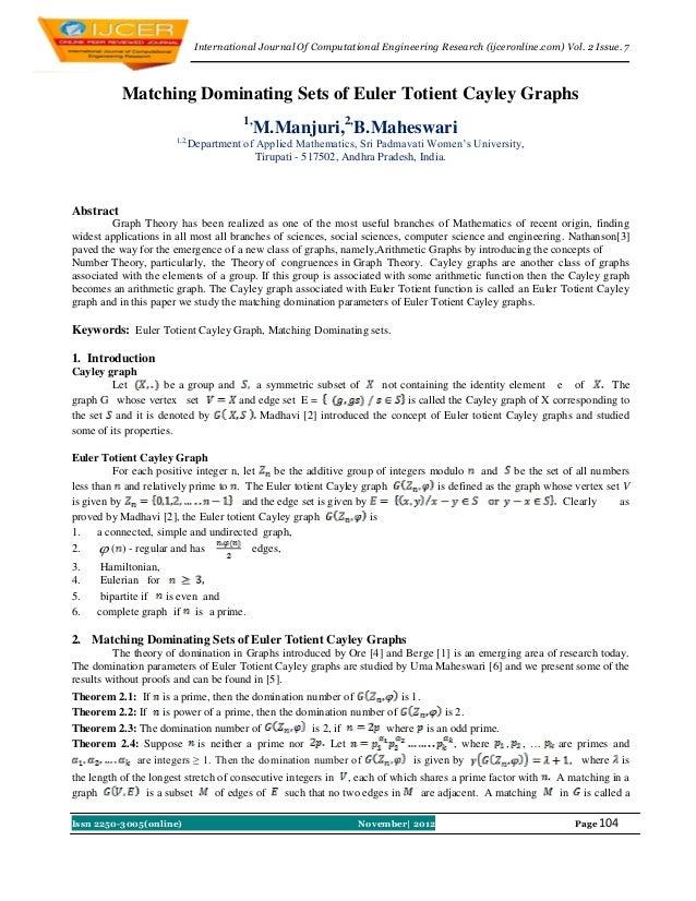 International Journal Of Computational Engineering Research (ijceronline.com) Vol. 2 Issue. 7           Matching Dominatin...