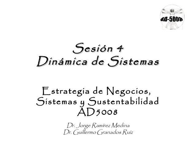 Sesión 4Sesión 4 Dinámica de SistemasDinámica de Sistemas Estrategia de Negocios, Sistemas y Sustentabilidad AD5008 Dr. Jo...