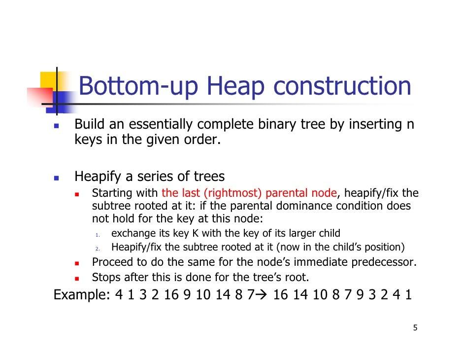 Bottom up heap building