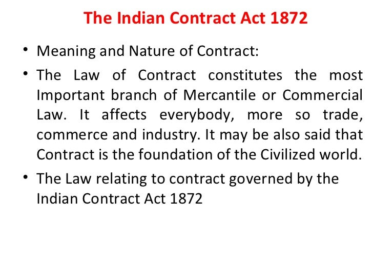 an interpretation of the indian contract law of 1872