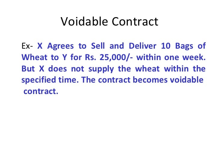 the law of contract voidable Valid, void, voidable and unenforceable contracts  valid contracts- if a contract has all of the required elements, it is valid and enforceable in a court of law example a homeowner (who is over the age of 18 and of sound mind) signed a contract with the appliance store to buy a refrigerator.