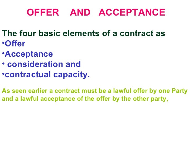 what are the four elements of a valid contract