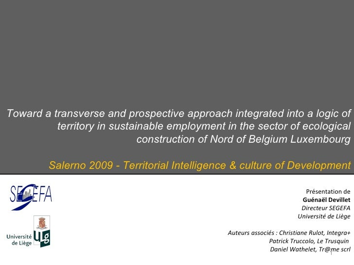 Toward a transverse and prospective approach integrated into a logic of territory in sustainable employment in the sector ...