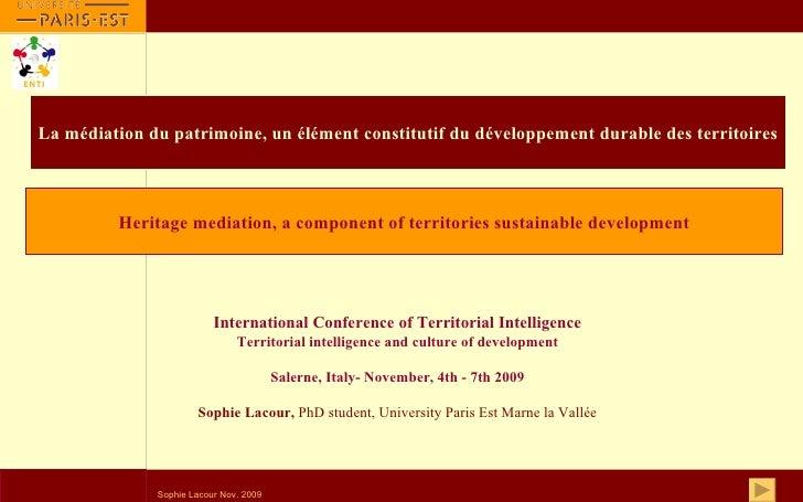 La médiation du patrimoine, un élément constitutif du développement durable des territoires International Conference of Te...