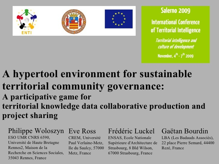 A hypertool environment for sustainable t erritorial  community governance :  A  participative  game for  territorial know...