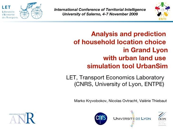 LET, Transport Economics Laboratory (CNRS, University of Lyon, ENTPE) International Conference of Territorial Intelligence...