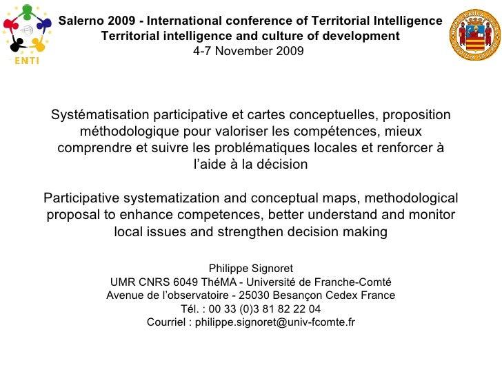 Systématisation participative et cartes conceptuelles, proposition méthodologique pour valoriser les compétences, mieux co...