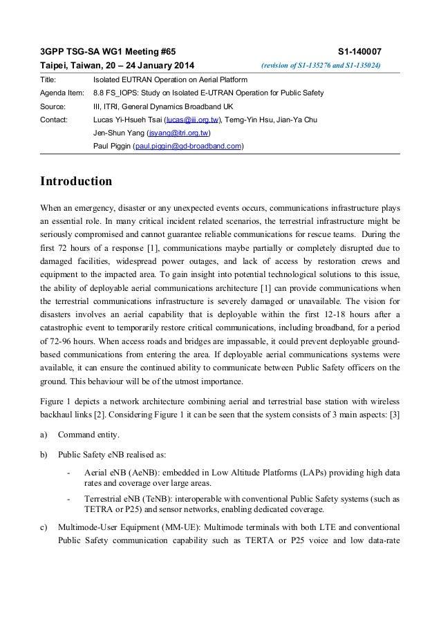 3GPP TSG-SA WG1 Meeting #65 Taipei, Taiwan, 20 – 24 January 2014  S1-140007 (revision of S1-135276 and S1-135024)  Title: ...