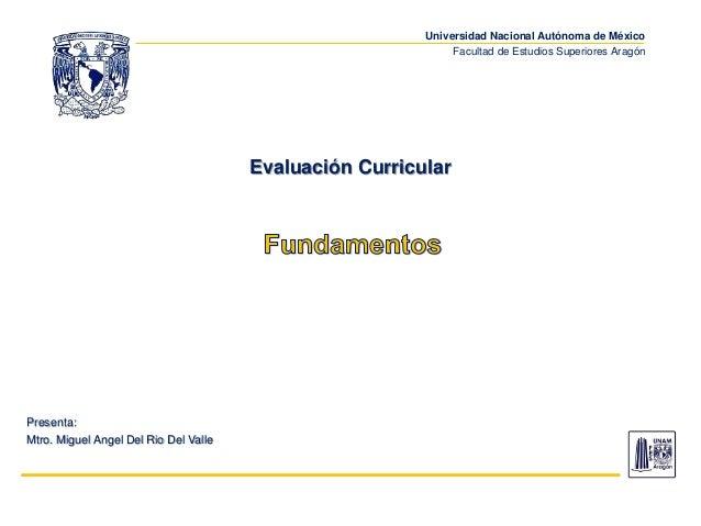 Universidad Nacional Autónoma de México Facultad de Estudios Superiores Aragón Evaluación Curricular Presenta: Mtro. Migue...