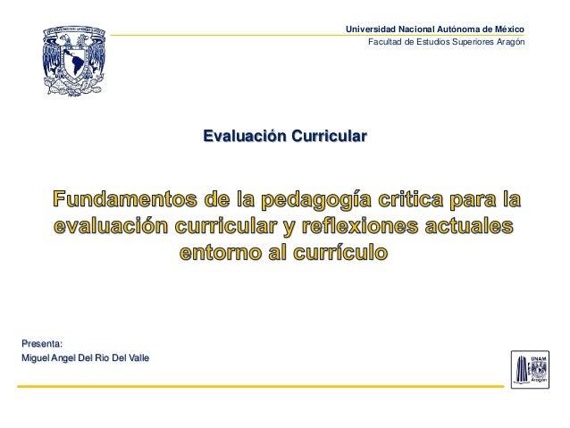 Universidad Nacional Autónoma de México Facultad de Estudios Superiores Aragón Evaluación Curricular Presenta: Miguel Ange...