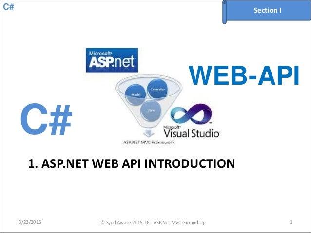 C# 1. ASP.NET WEB API INTRODUCTION 3/23/2016 © Syed Awase 2015-16 - ASP.Net MVC Ground Up 1 Section I C# WEB-API
