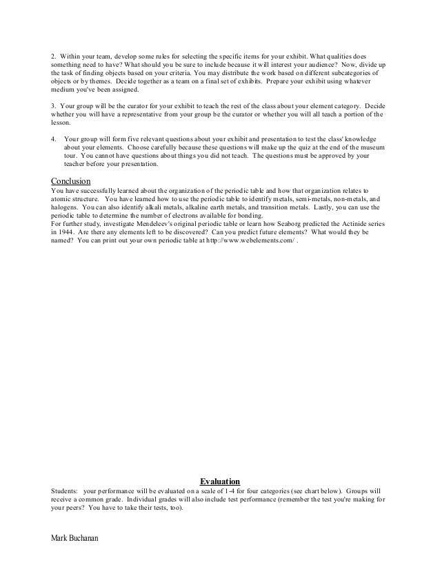 mark buchanan 16 - Periodic Table Unit Test