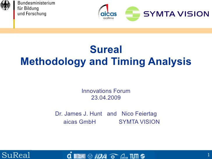 Sureal    Methodology and Timing Analysis                   Innovations Forum                     23.04.2009           Dr....
