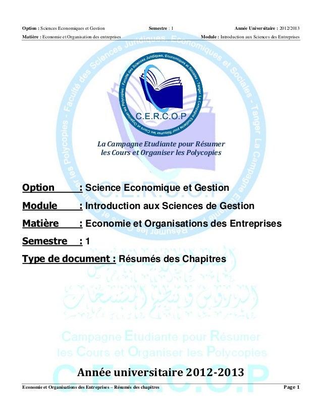 Option : Sciences Economiques et Gestion Semestre : 1 Année Universitaire : 2012/2013 Matière : Economie et Organisation d...