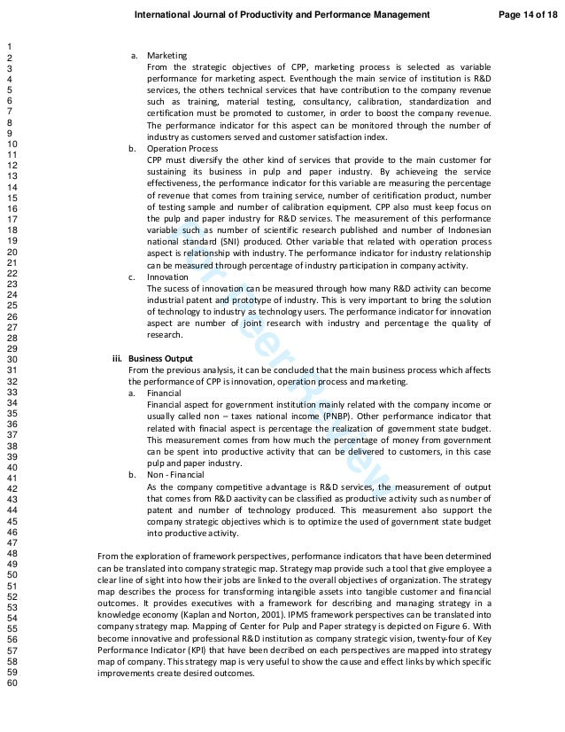 ForPeerReview a. Marketing From the strategic objectives of CPP, marketing process is selected as variable performance for...