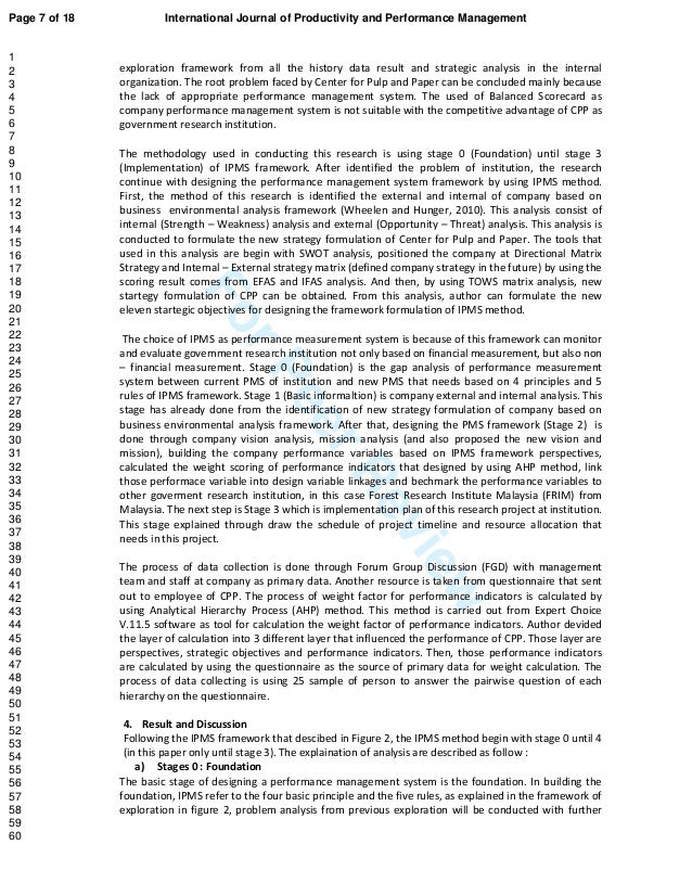 ForPeerReview exploration framework from all the history data result and strategic analysis in the internal organization. ...