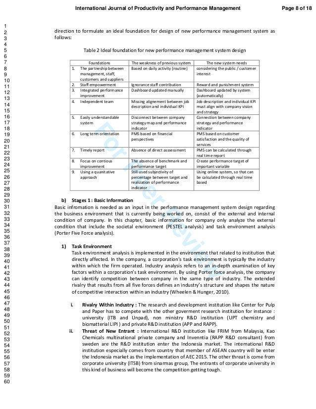 ForPeerReview direction to formulate an ideal foundation for design of new performance management system as follows: Table...