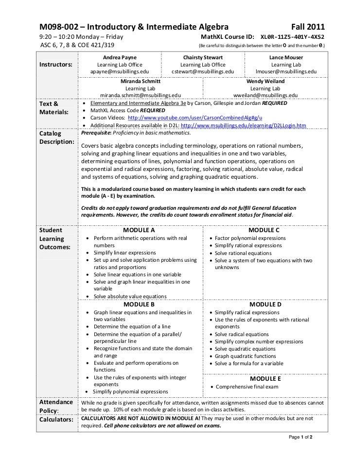M098-002 – Introductory & Intermediate Algebra                                                                  Fall 20119...