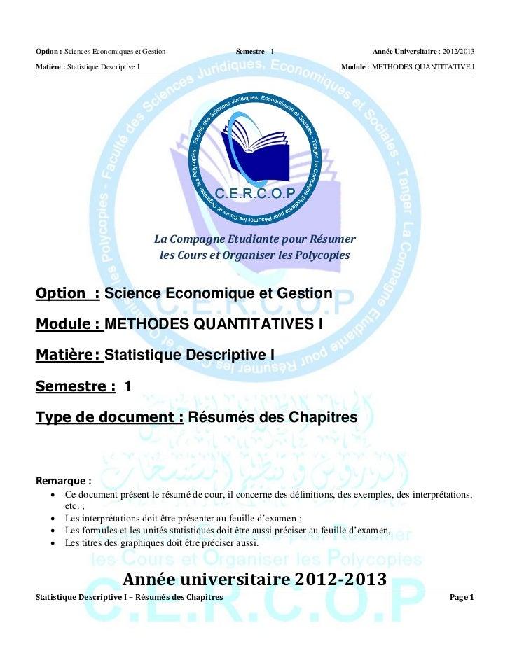 Option : Sciences Economiques et Gestion             Semestre : 1                    Année Universitaire : 2012/2013Matièr...