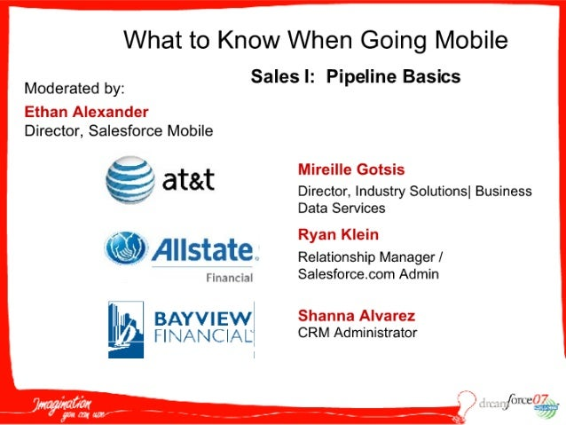 What to Know When Going Mobile  Moderated by:  Sales I:  Pipeline Basics  Ethan Alexander Director,  Salesforce Mobile  5-...