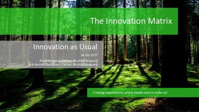 The Innovation Matrix Innovation as Usual 24-Oct-2017 Puk Falkenberg, Advisor, Bloch&Østergaard Erik Korsvik Østergaard, P...
