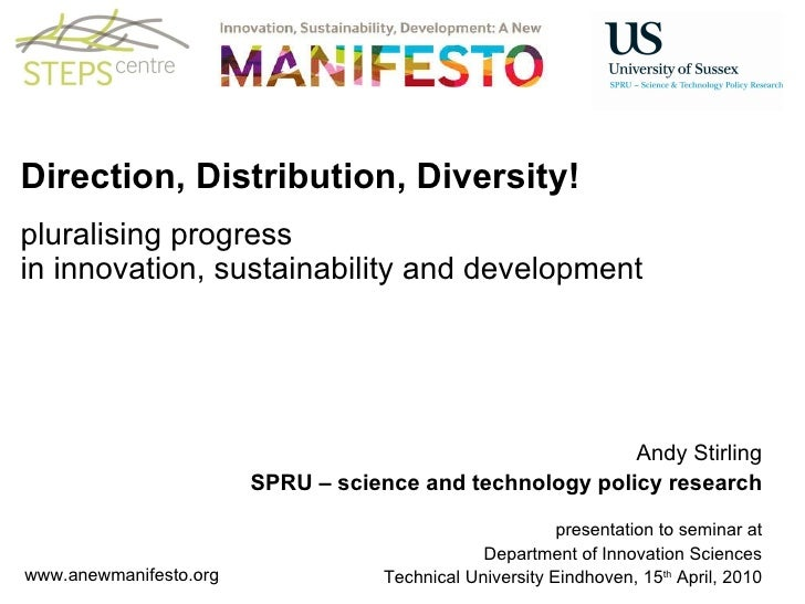 Direction, Distribution, Diversity! pluralising progress in innovation, sustainability and development                    ...