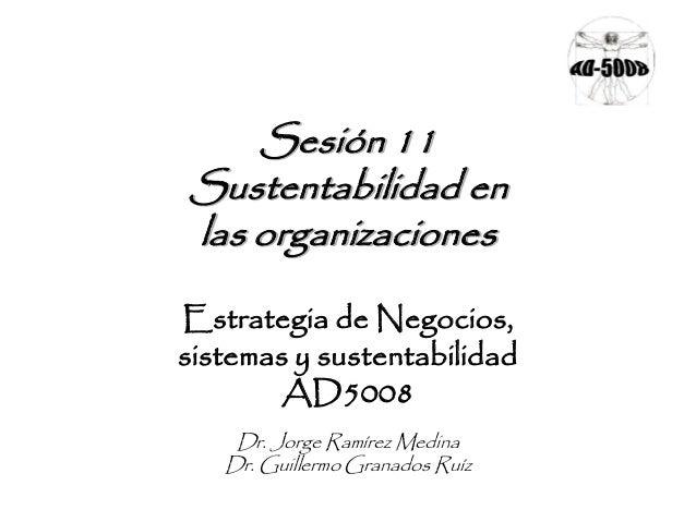 Sesión 11 Sustentabilidad en las organizaciones Estrategia de Negocios, sistemas y sustentabilidad AD5008 Dr. Jorge Ramíre...