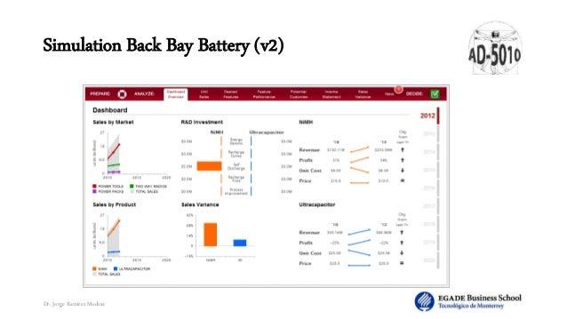 Back bay battery simulation solution