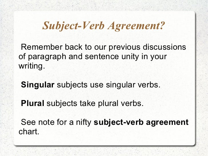 Subject-Verb Agreement? <ul><li>Remember back to our previous discussions of paragraph and sentence unity in your  writing...