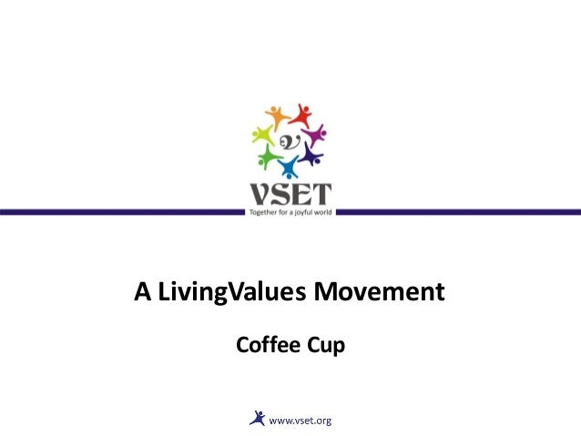 A LivingValues Movement Coffee Cup