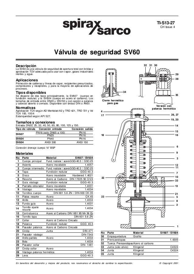 TI-S13-27 CH Issue 4  Válvula de seguridad SV60 32  Descripción  31 30  La SV60 es una válvula de seguridad de apertura to...
