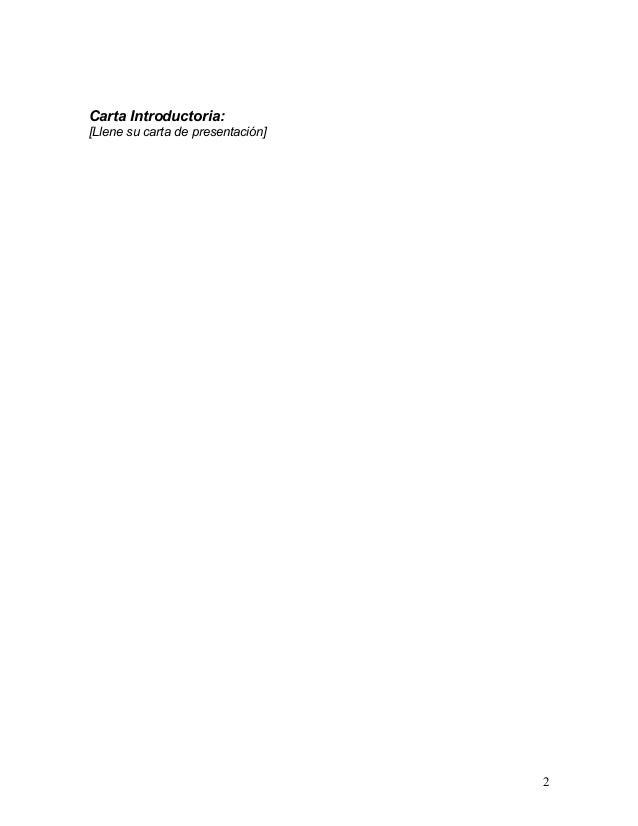 Carta Introductoria:[Llene su carta de presentación]                                   2
