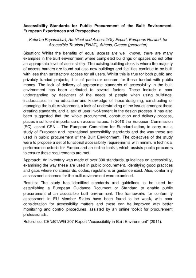 Accessibility Standards for Public Procurement of the Built Environment. European Experiences and Perspectives Katerina Pa...