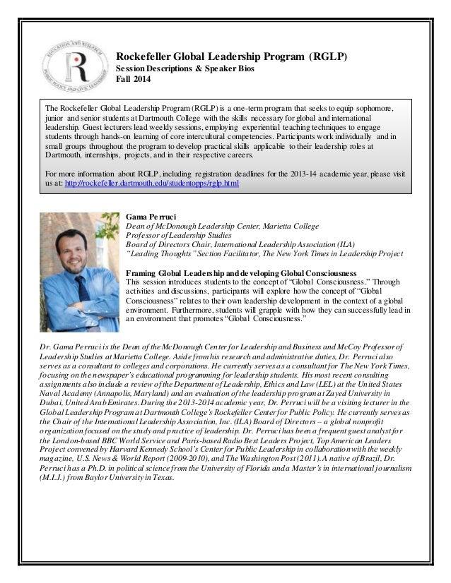 Rockefeller Global Leadership Program (RGLP)  Session Descriptions & Speaker Bios  Fall 2014  The Rockefeller Global Leade...