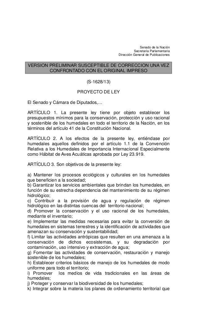 Senado de la Nación Secretaría Parlamentaria Dirección General de Publicaciones  VERSION PRELIMINAR SUSCEPTIBLE DE CORRECC...