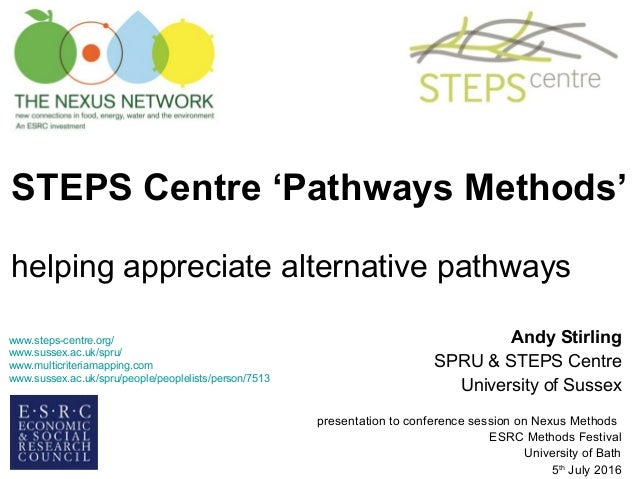 STEPS Centre 'Pathways Methods' helping appreciate alternative pathways Andy Stirling SPRU & STEPS Centre University of Su...